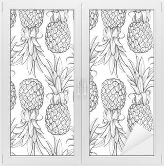Pineapples seamless pattern Window & Glass Sticker