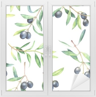 Seamless pattern with olive branches. Hand drawn watercolor illustration. Window & Glass Sticker