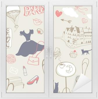 set of hand drawn symbols of Paris Window & Glass Sticker