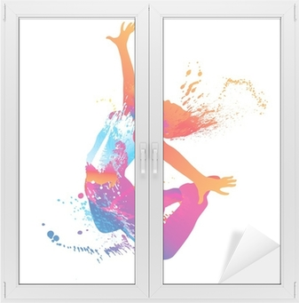 The dancing girl with colorful spots and splashes on white Window & Glass Sticker