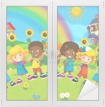 The group of happy preschool kids Window & Glass Sticker