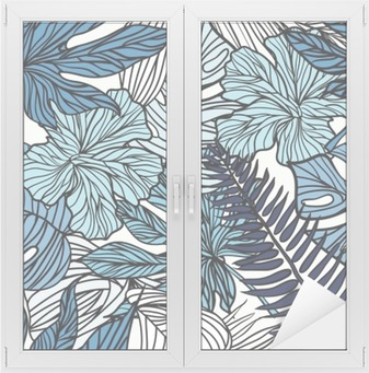 Tropical exotic flowers and plants with green leaves of palm. Window & Glass Sticker