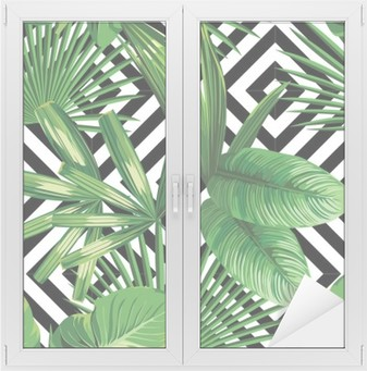 tropical palm leaves pattern, geometric background Window & Glass Sticker