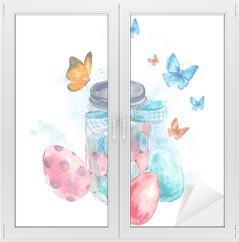 Watercolor glass jar with candy, butterfly and eggs