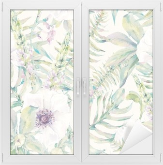 Watercolor leaf seamless pattern with ferns and flowers Window & Glass Sticker