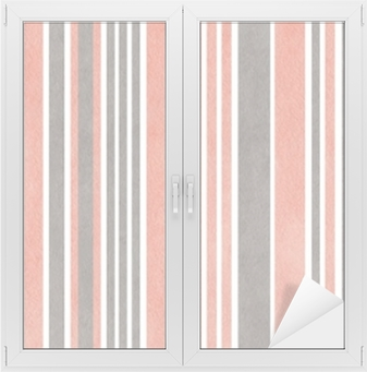 Watercolor pink and grey striped background. Window & Glass Sticker