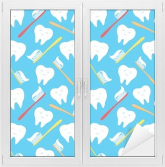 White teeth and colorful toothbrushes. Window & Glass Sticker