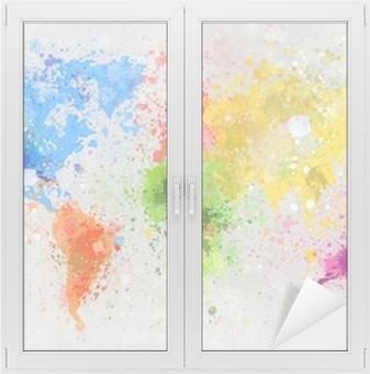 world map painting Window & Glass Sticker