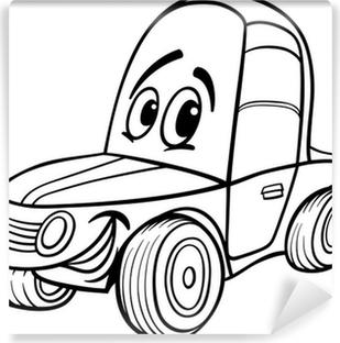 Boyama Kitabı Için Araba Karikatür Illüstrasyon Poster Pixers