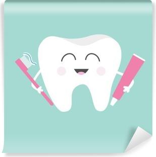 Yıkanabilir Duvar Resmi Diş macunu ve diş fırçası tutan. Sevimli komik karikatür gülümseyen karakter. Çocuk diş bakım simgesi. Ağız diş hijyeni. Diş sağlığı. Arka plan bebek. Düz tasarım.