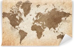 Yıkanabilir Duvar Resmi Dokulu bir arka plan ile dünya haritası