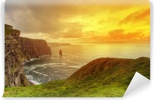 Yıkanabilir Duvar Resmi Gün batımında Moher pastoral Cliffs, Clare, İrlanda