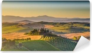 Yıkanabilir Duvar Resmi Gündoğumu Tuscany at manzara panorama, Val d'Orcia, İtalya