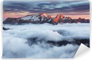 Yıkanabilir Duvar Resmi İtalya'da günbatımında Dağ Marmolada yaz en Dolomitlerin