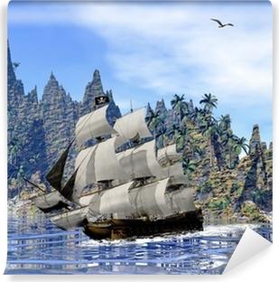 Yıkanabilir Duvar Resmi Kıyısında korsan gemisi - 3D render