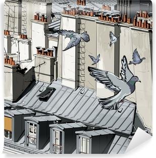 Yıkanabilir Duvar Resmi Paris'te çatılar