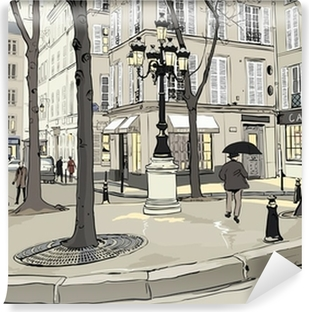Yıkanabilir Duvar Resmi Paris'te Furstemberg kare