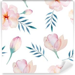 Yıkanabilir Duvar Resmi Stilize çiçekler ile sorunsuz duvar kağıdı, suluboya illustratio