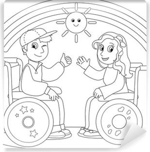Tekerlekli Sandalye üzerinde Erkek Ve Kız çocuk Gülümseyen