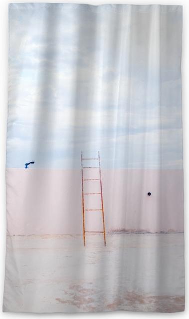 Zasłona okienna nieprzepuszczająca światła Schody na pustym dachu wieżowca z widokiem nieba w stylu minimalizmu. - Krajobrazy