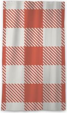 Zasłona okienna przepuszczająca światło Seamless czerwony i biały wzór wektora obrus.