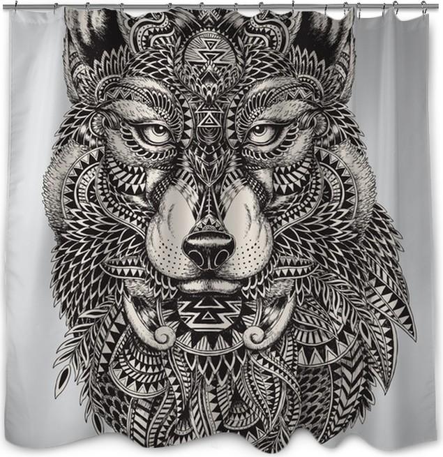 Zasłona prysznicowa Bardzo szczegółowe streszczenie ilustracji wilka - Style