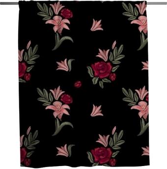 Zasłona prysznicowa Haftowane kwiaty. lilie i róże. wzór. wektor kwiatowy wydruku.