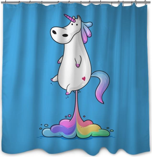 Zasłona prysznicowa Ładny gruby jednorożec pierdzenie tęcza zabawny wektor ilustracja kreskówka - Zwierzęta