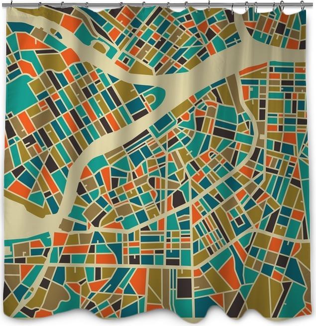 Zasłona prysznicowa Petersburg map wektorowych. Kolorowe rocznika podstawy projektowania karty podróży, reklamy, prezent lub plakatu. - Podróże