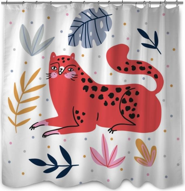 Zasłona prysznicowa Ręcznie rysowane ilustracja z dzikiego kota i tropikalnych liści na tle kropki - do wystroju domu, druk koszulki, plakat, karty z pozdrowieniami. ilustracja kreatywnych wektor ładny z Lampart. - Zwierzęta