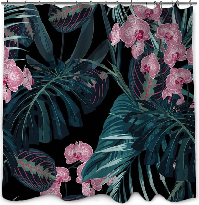 Zasłona prysznicowa Wzór, ciemnozielone palmy liści i tropikalne różowe kwiaty orchidei na czarnym tle. zabytkowy styl. - Rośliny i kwiaty