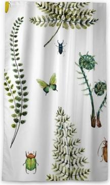 Zatemňovací okenní závěs Akvarel kapradina vzor