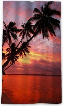 Zatemňovací okenní závěs Silueta palmy na pláži při západu slunce, ostrov OFU, Tonga