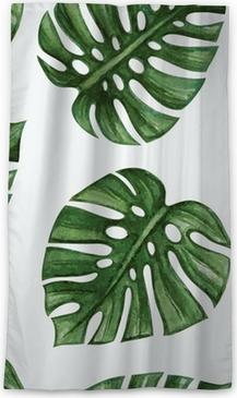 Zatemňovací okenní závěs Watercolor tropical palm leaves seamless pattern. Vector illustration.