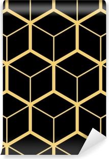 Zelfklevend Fotobehang Abstracte geometrische achtergrond. zeshoekig gaas met ingesloten cellen. vector naadloze illustratie. ritmisch herhalend patroon. moderne stijl voor geometrische sjablonen