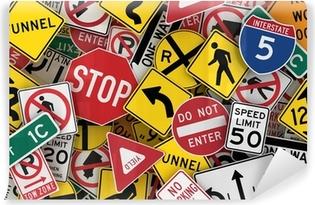 Zelfklevend Fotobehang Amerikaanse verkeersborden