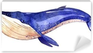 Zelfklevend Fotobehang Aquarel walvis, met de hand geschilderd illustratie op een witte achtergrond