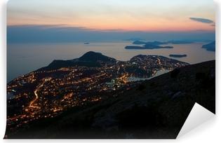 Zelfklevend Fotobehang Avond uitzicht richting Dubrovnik en de Dalmatische kust