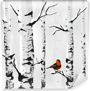 Zelfklevend Fotobehang Berk in sneeuw, winter kaart in vector