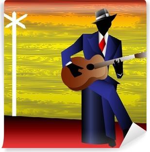 Zelfklevend Fotobehang Blues Gitarist at the Crossroads, Vector Achtergrond voor een Conce