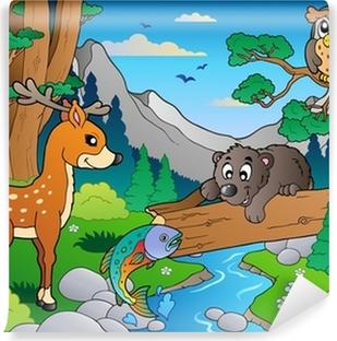 Zelfklevend Fotobehang Bos scène met verschillende dieren 1