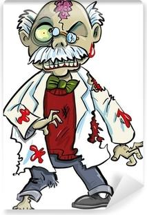 Zelfklevend Fotobehang Cartoon zombie wetenschapper met hersenen tonen. Op wit wordt geïsoleerd