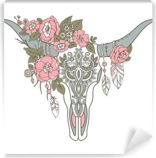 Zelfklevend Fotobehang Decoratieve Indische stier schedel met etnische ornament, bloemen en l