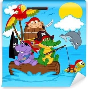 Zelfklevend Fotobehang Dieren piraten - vector illustratie, eps