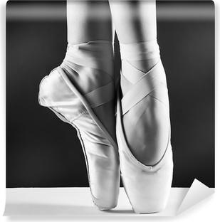 Zelfklevend Fotobehang Een foto van pointes ballerina's op zwarte achtergrond