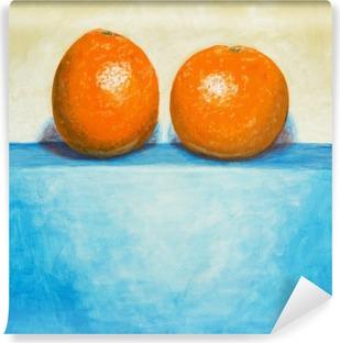 Zelfklevend Fotobehang Een schilderij van twee sinaasappelen