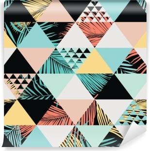 Zelfklevend Fotobehang Exotische strand trendy naadloze patroon, geïllustreerd floral vector tropische bladeren. wallpaper achtergrond afdrukken.