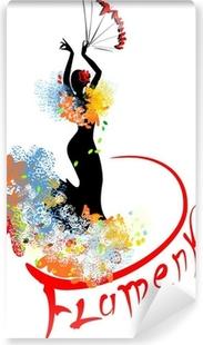 Zelfklevend Fotobehang Flamenco danser met fan