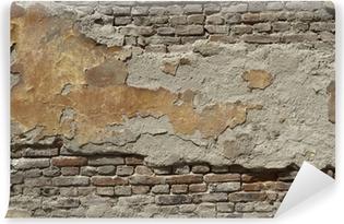 Zelfklevend Fotobehang Geschilderde oude bakstenen muur