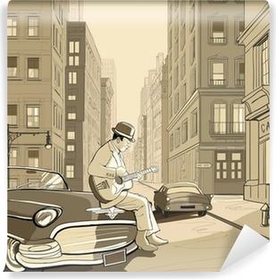 Zelfklevend Fotobehang Gitarist in een oude straat van New York